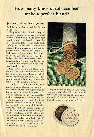Рекламная полоса трубочного табака «Escudo Navy De Luxe»