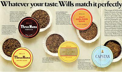 Рекламная полоса трубочных табаков Wills